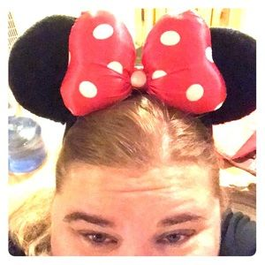 Disney mini mouse ears with red polka dot bow